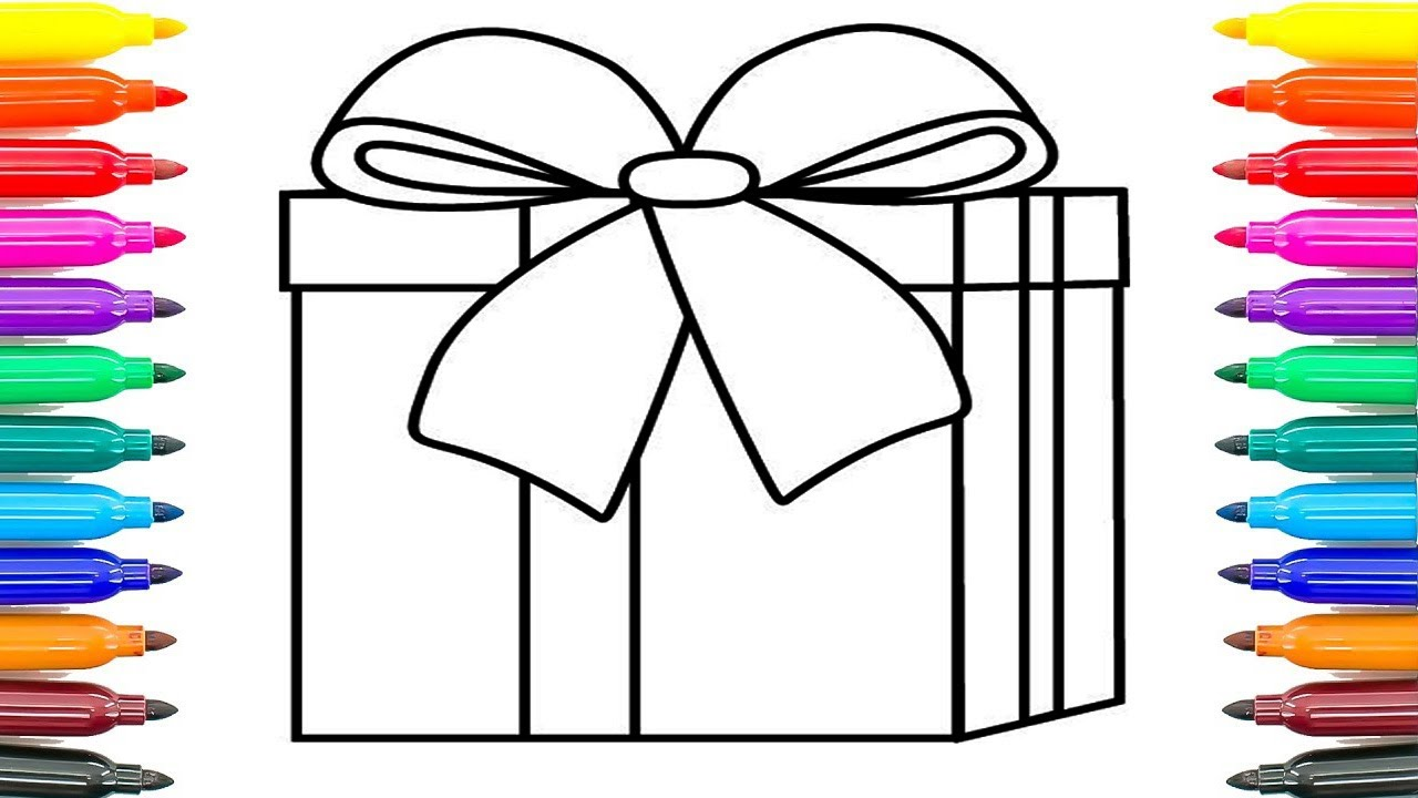 how to draw gift box surprises coloring pages for kids how to paint