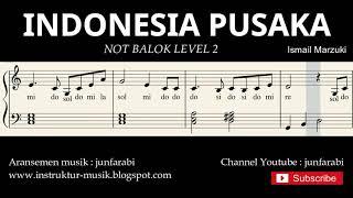 Gambar cover not piano indonesia pusaka - notasi balok level 2 - lagu wajib nasional - do re mi / sol mi sa si