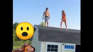 Girl jumping off shed to trampoline to pool FAIL