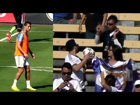 Cristiano Ronaldo Kicks Ball to Real Madrid Fan at Dodger Stadium - He Has to Throw it Back 8-3-13