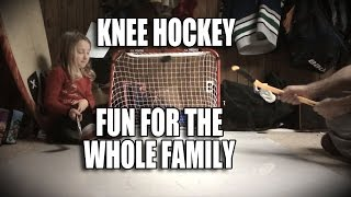 Knee hockey fun for the whole family EZ goal Knee hockey kit