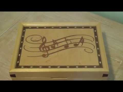 Marquetry Wooden Music Jewellery Box Play Fascination Waltz