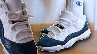 How To Lace Jordan 11 Lows (3 Ways w/ ON FEET) | Featuring 'Snakeskin' (THE BEST WAY!)