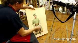 Использование старого холста - Обучение живописи. Масло. Введение, 23 серия