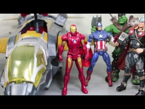 The Avengers Movie Quinjet With Iron Man Mark VII Vehicle Toy Review