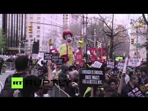 LIVE: NYC fast-food workers march in 'Fight for $15' protest