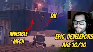 DAKOTAZ REACTS TO GETTING DESTROYED BY INVISIBLE B.R.U.T.E MECH FORTNITE