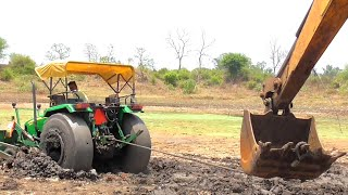John Deere Stuck in Mud Rescued By JCB and Sonalika 60 Rx | Tractor Breaked Gearbox