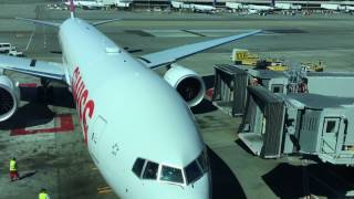 Airplane arrives at gate / Swiss airline / SFO airport