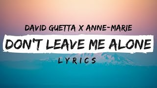 David Guetta ft. Anne-Marie - Don't Leave Me Alone (Lyrics / Lyric Video)