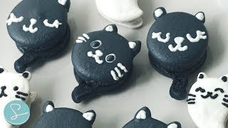 HALLOWEEN MACARONS - BLACK CAT & GHOST KITTEN -  Sumopocky