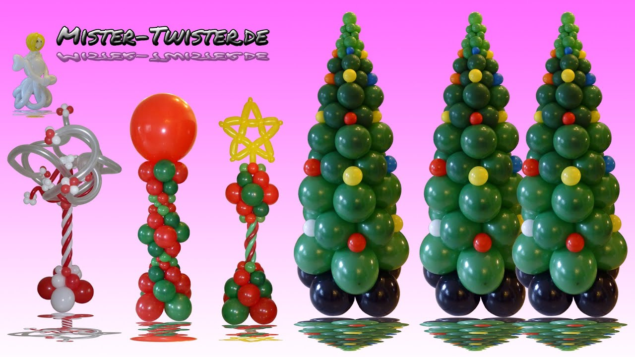 balloon christmas tree column decoration ballon weihnachtsbaum anleitung dekoration