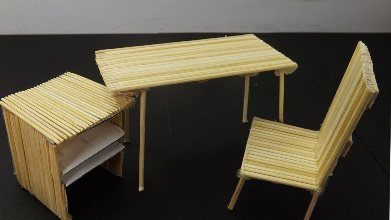 Miniature Office Desk and Dining Table #33 | Bamboo Stick Crafts ...