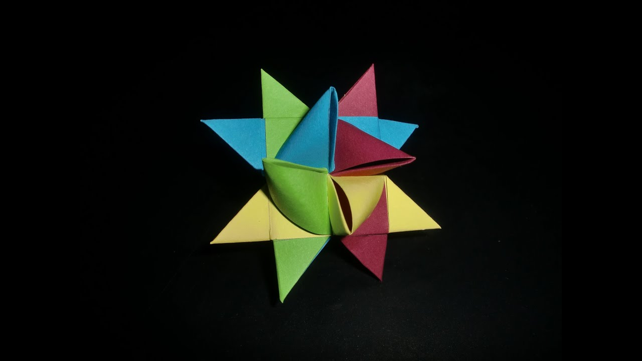 Fröbel Stern Origami German Star: Bunter Fröbelstern - Tutorial [hd ...