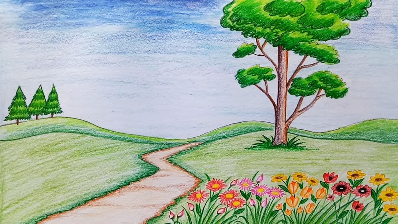 How to draw scenery of flower garden step by step (very ...