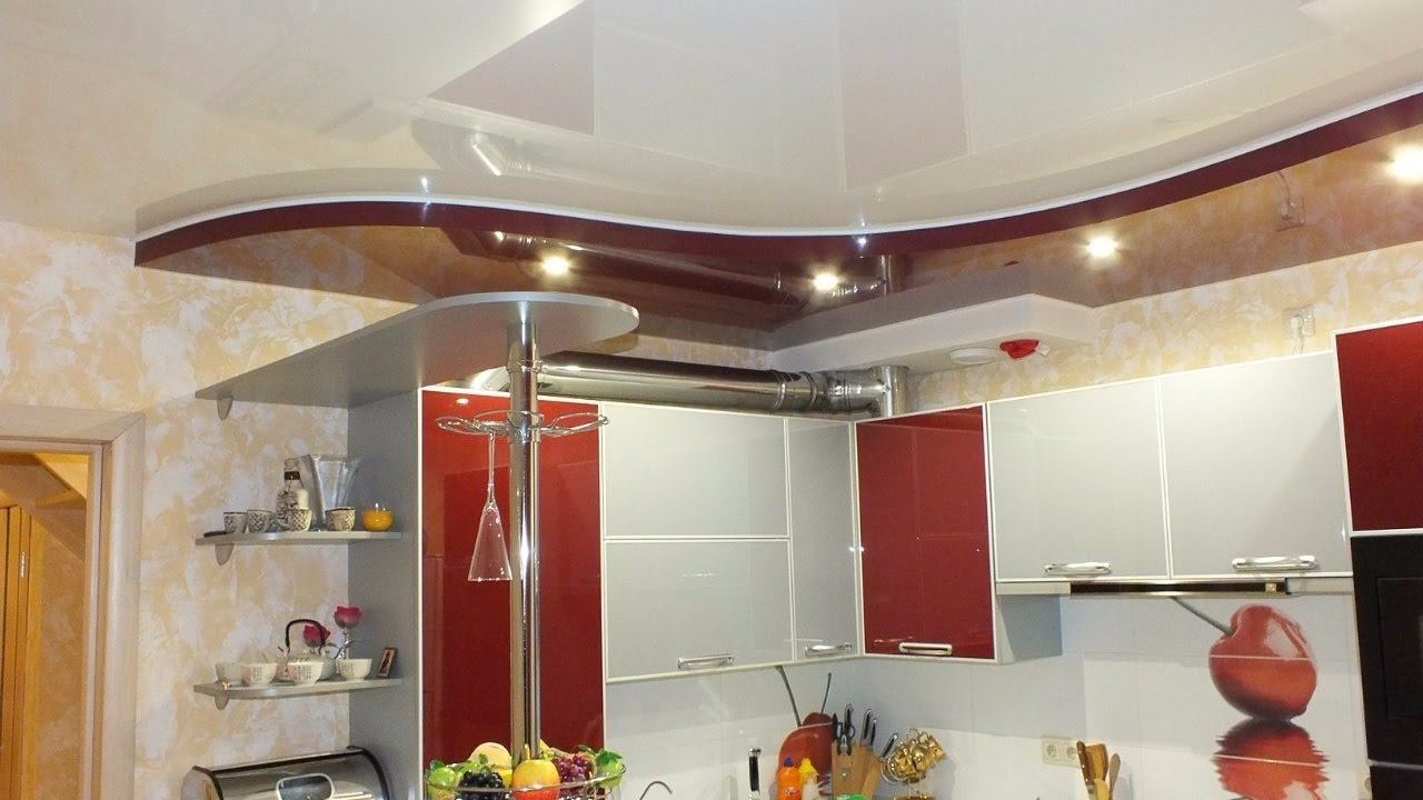 натяжные двухуровневые потолки фото на кухне
