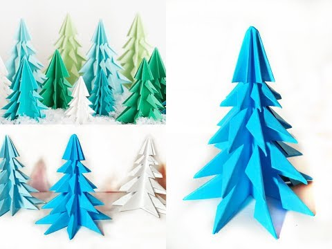 3D Christmas Tree Origami Tutorial - DIY Xmas Ornaments With Paper For Easy Decor