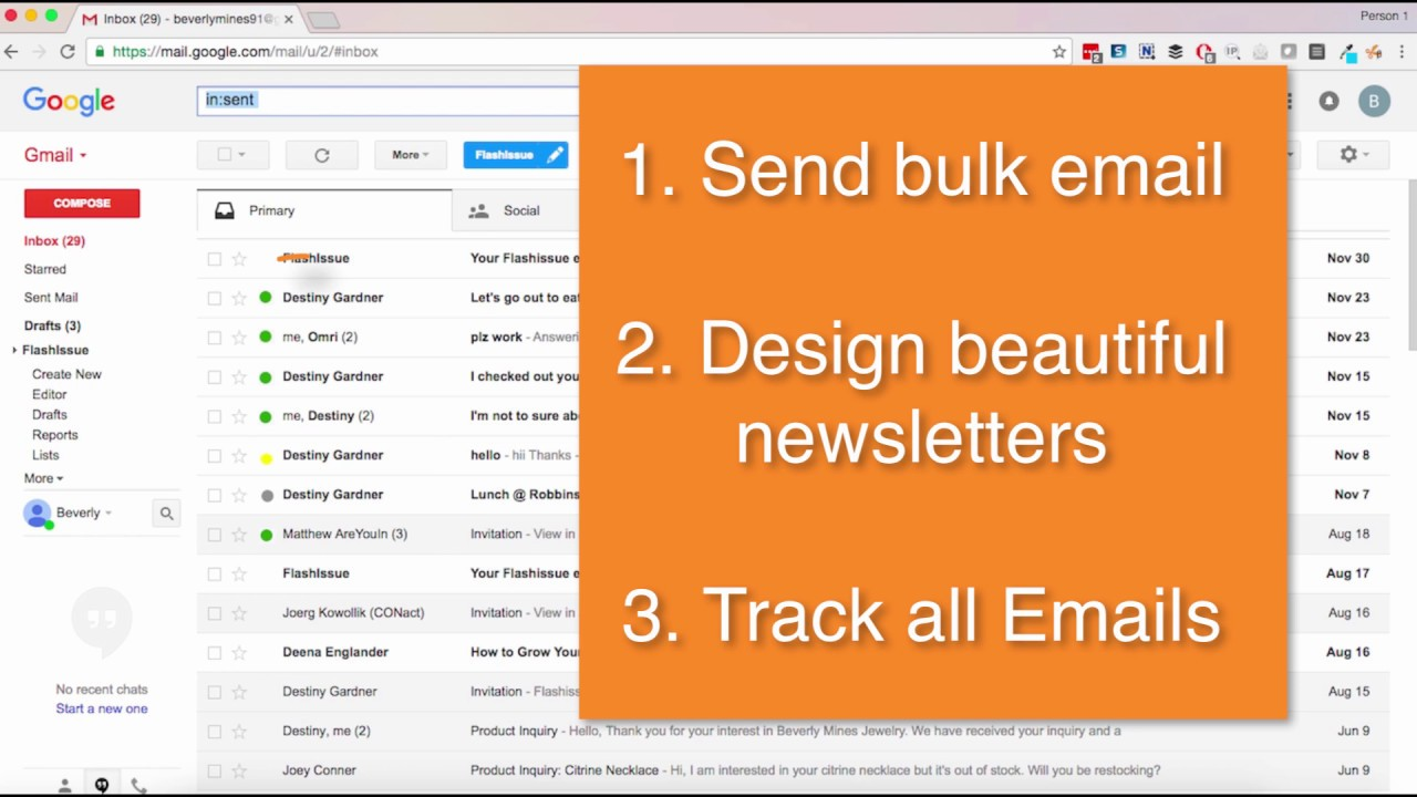 Flashissue for Gmail: Newsletter Creator and Inbox Tracking - YouTube