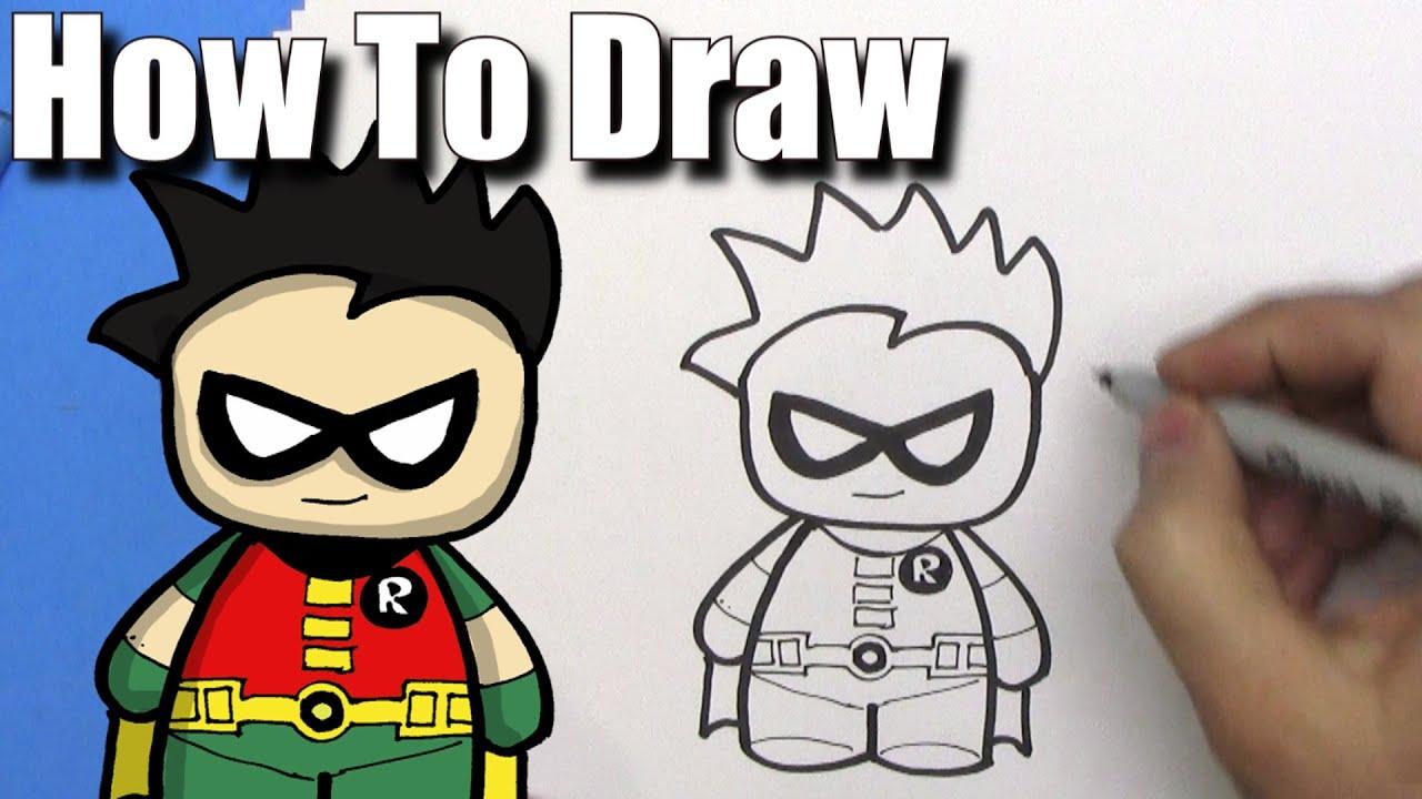 How To Draw a Cute Cartoon Robin from Batman - EASY Chibi ...