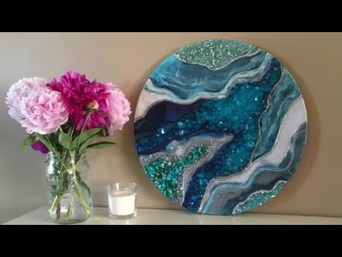 """Blue Resin Geode on a 16"""" Round"""