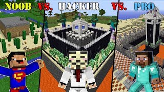Minecraft NOOB vs. HACKER vs. PRO SECURE BASE CHALLENGE in Minecraft