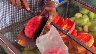 태국 방콕 길거리음식 과일자르기 달인    thai b…