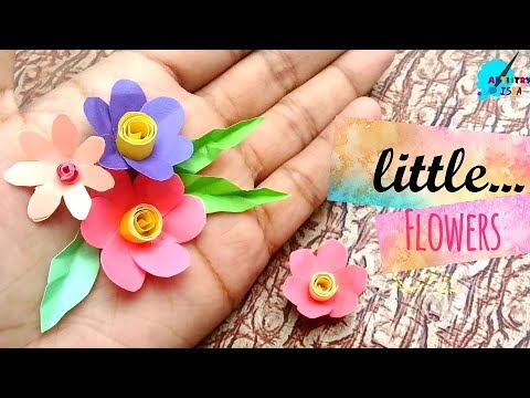How to make little paper  flowers/ mini colourful flowers / easy craft and decorating idea