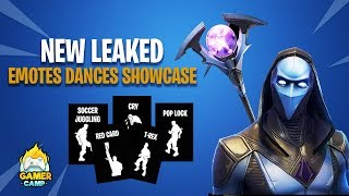 FORTNITE LEAKED EMOTES DANCES SHOWCASE INCLUDING (Pop Lock,Soccer Juggling,Red Card,T- Rex,Cry )