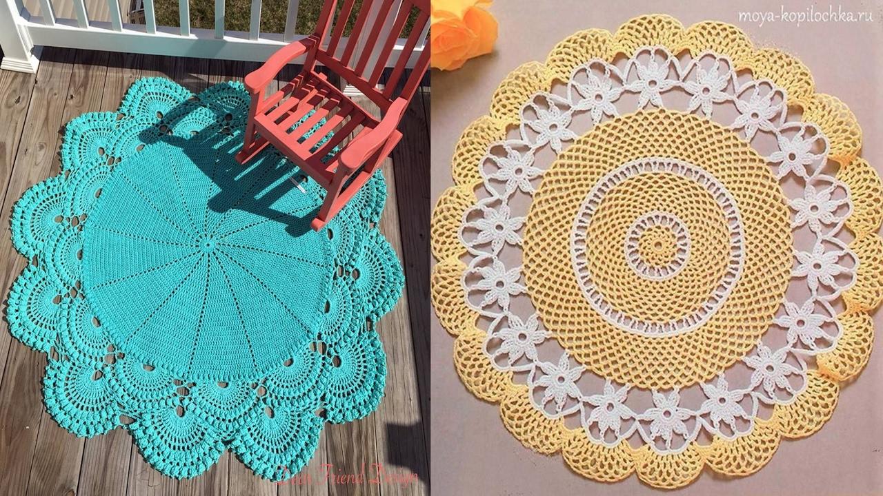 Como tejer tapetes con flores y calados tejidos a crochet - Como hacer flores de ganchillo ...