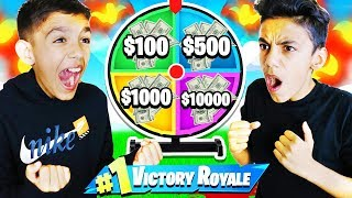 My Brothers Battle In A Fortnite Timed Killed Race For Money Spin Wheel!