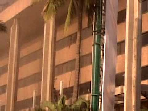 Building in front of Diamond District On Fire in BANGALORE - INDIA.  23 Feb. 2010