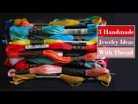3 Handmade Jewellery Ideas | How To Make Thread Necklace, Earrings At Home |Creation&you