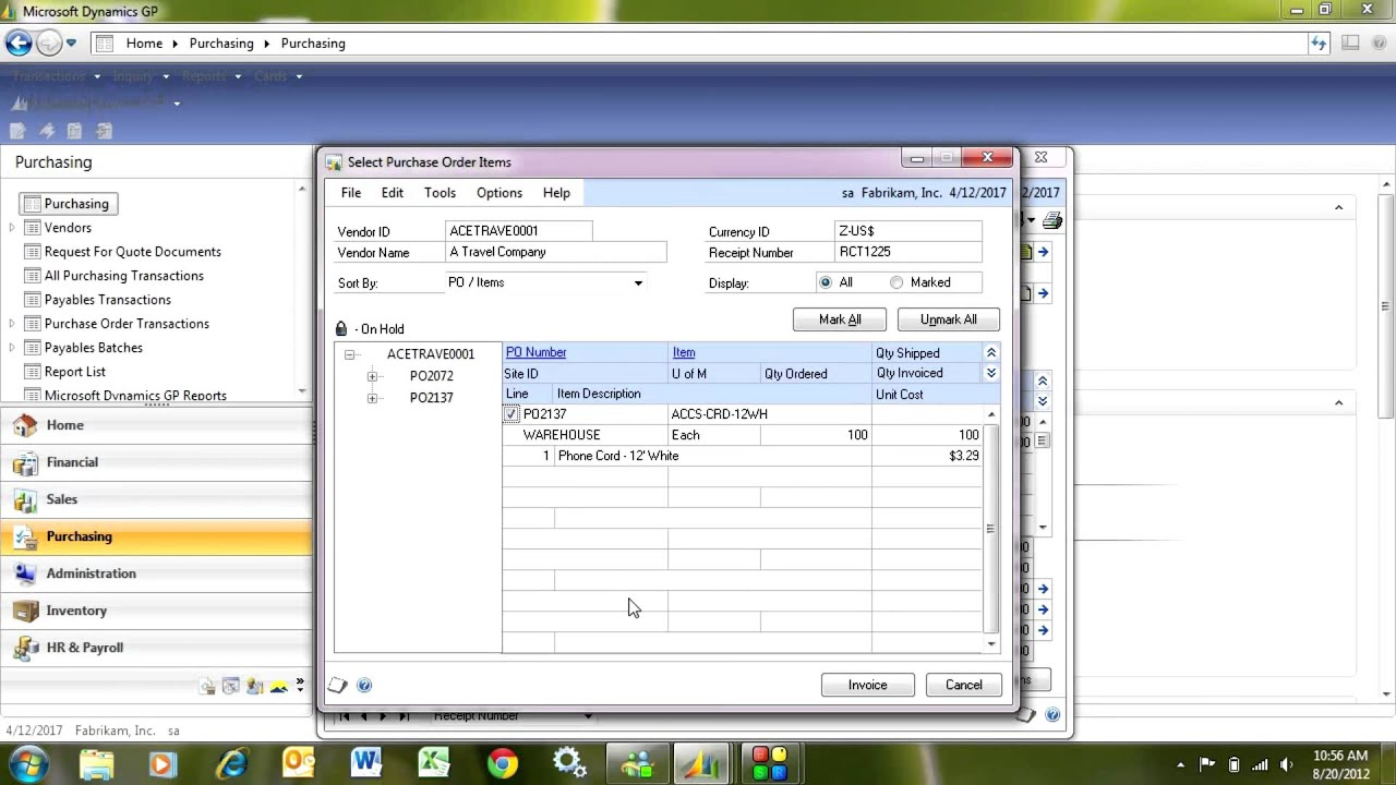 Sole Trader Invoicing Excel Dynamics Gp Matching Vendor Invoices To Purchase Receipts  Youtube Blank Cab Receipt Word with Commercial Invoice Template Dynamics Gp Matching Vendor Invoices To Purchase Receipts Invoice Format In Word