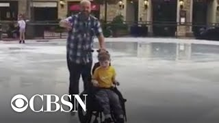 6-year-old boy with cerebral palsy ice skates for the first time