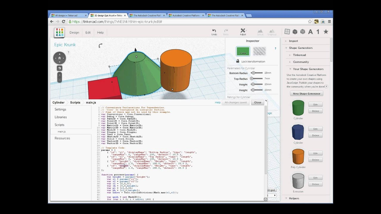 Autodesk TinkerCad: Generating 3D Geometry with JavaScript ...