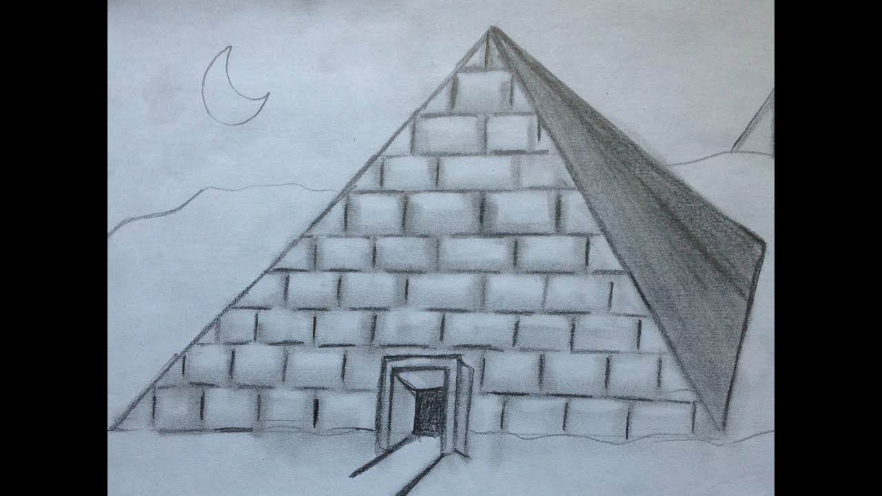how to draw a pyramid for beginners youtube