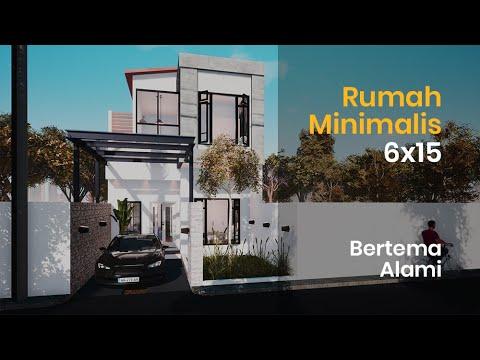 desain rumah minimalis 2 lantai ukuran 6x15 meter - youtube