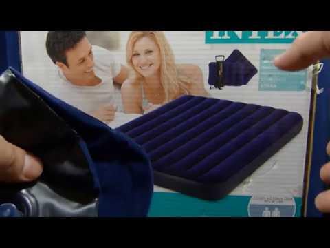 Надувной матрац - кровать от Intex 152*203*22 + 2 подушки + насос
