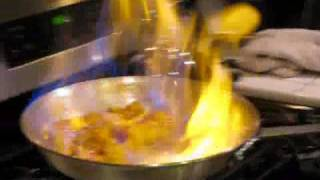 Spiced Pineapple Flambe with Fresh Fruit Salad