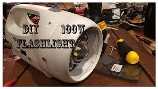 Super Bright DIY 100W LED Flashlight project parts from ebay and goodwill EDC