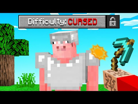 Beating Minecraft With CURSED DIFFICULTY Enabled!