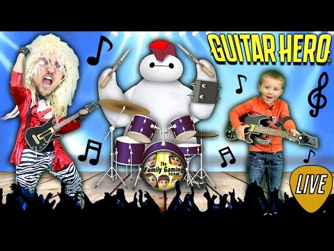 FGTEEV DUDDY plays GUITAR HERO Live!  Ghost Busters, Star Wars & Baymax Song (WORST CROWD EVER!)