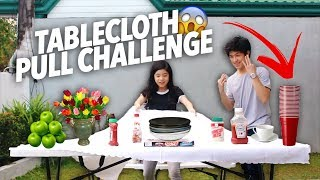 TABLECLOTH PULL CHALLENGE (WE DID IT) | Ranz and Niana