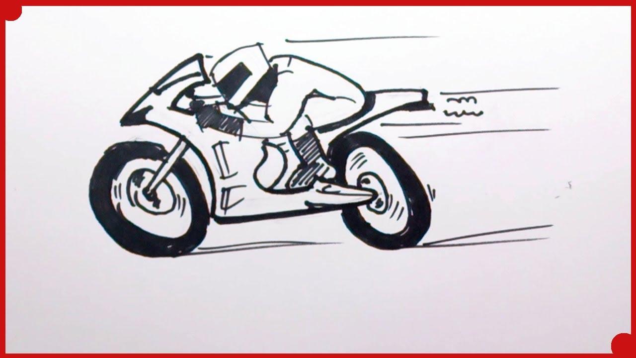 Como Dibujar Una Moto De Carreras Muy Fácil Y Paso A Paso Youtube