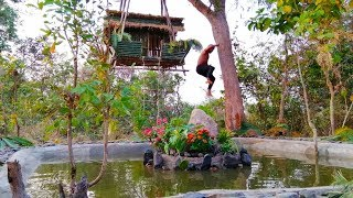 Building more swimming pool for suspension house on the tree ( Ancient skill ) part 2