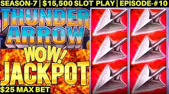 Thunder Arrow Slot Machine HANDPAY JACKPOT | High Limit KONAMI Slot Jackpot | SEASON-7 | EPISODE #10