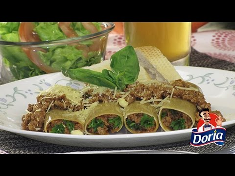 Canelones Doria con Carne Molida de res en salsa Napolitana
