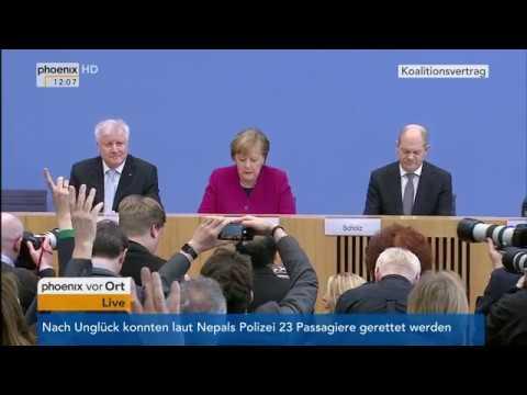 Pressekonferenz zum Koalitionsvertrag mit Angela Merkel, Horst Seehofer und Olaf Scholz am 12.03.18