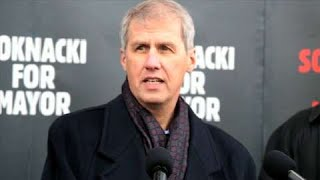 Toronto mayoral candidate David Soknacki announced at Lawrence East SRT that he wants to bring back the Scarborough LRT if elected.