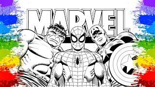 Super Herois desenho Homem Aranha Hulk Capitão América Videos infantis Paginas para colorir  🕸🎨
